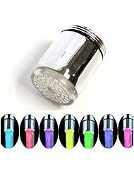 Interesting® 7 colores LED de agua del grifo luz cambiante resplandor de bienvenida al corriente del grifo Fácil de instalar