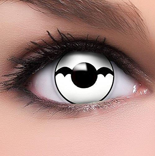 Farbige Kontaktlinsen Bat in weiß + Behälter - Top Linsenfinder Markenqualität, 1Paar (2 Stück)
