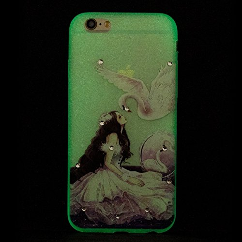 Glitzer Hülle für iPhone 6S,iPhone 6 Hülle,iPhone 6 Hülle Transparent Crystal Bling Glitzer Flüssig Case Hülle Klare Ultradünne Plastik Gel Schutzhülle für iPhone 6S / 6 4.7 Zoll,EMAXELERS iPhone 6S H P Luminous TPU 10