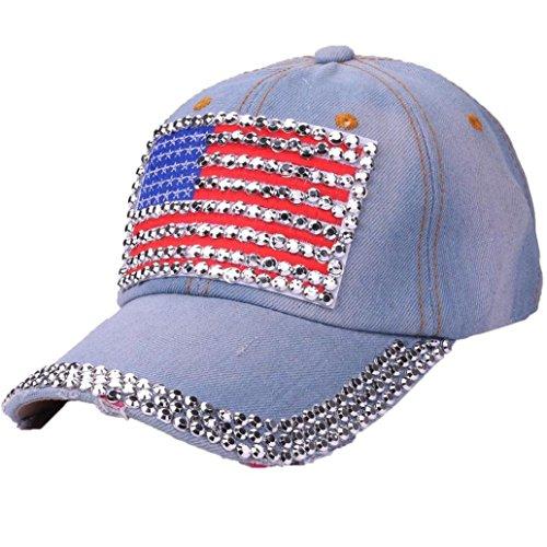 Baseball Caps,OYSOHE Neueste Frauen Amerikanische Flagge Strass Jeans Denim Baseball Einstellbare Bling Hut Kappe (Jean Bling)