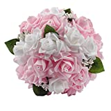 Beautiful Wedding Bouquets in Your Heart, AerWo Modern Style White Lace Pearls Bride Bridemaid Wedding Bouquet Artificial Silk Flower Light Pink
