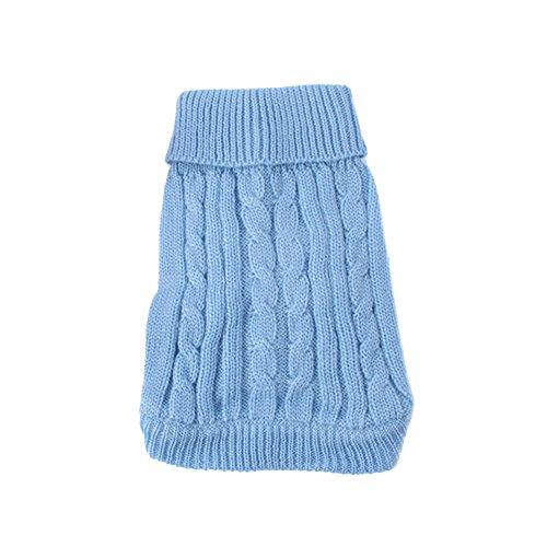 KAYI Pet Pullover Rollkragen Classic Doppelt Straw-Rope Kabel Knit Rund Neck Dark brownapparel Kostüm, S, Blau