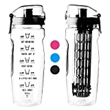 2 in 1 Fruit Infuser Water Bottle + Motivational Time Markings Helps You..