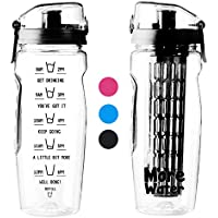Water Bottle with Fruit Infuser 1 Litre Motivational Time to Drink & Hydrate 1l
