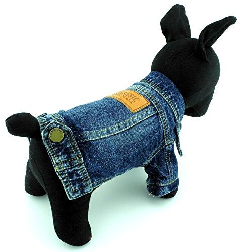t Kleiner Hund Kleidung Classic Denim Jacke Mantel männlich Kostüm blau (Männliche Halloween Kostüme Lange Haare)