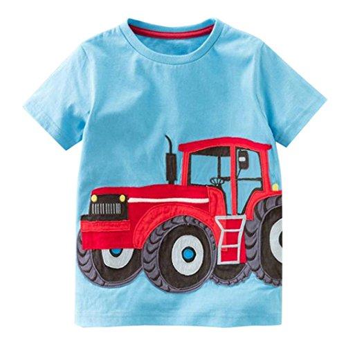 kinderkleidung,Yanhoo TX-D50044 Kinder Kurzarm Cartoon Traktor/Fahrrad/Dart/Krokodil Print T-Shirt (2 Jahre ~ Jahre) (Blau, 100) -