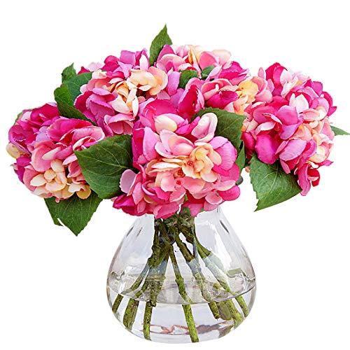 Calcifer 10 Stiele Schöne und realistische künstliche Hortensien Blumen Blumenstrauß für Haus Garten Hochzeit Party Dekoration Dark Fuschia