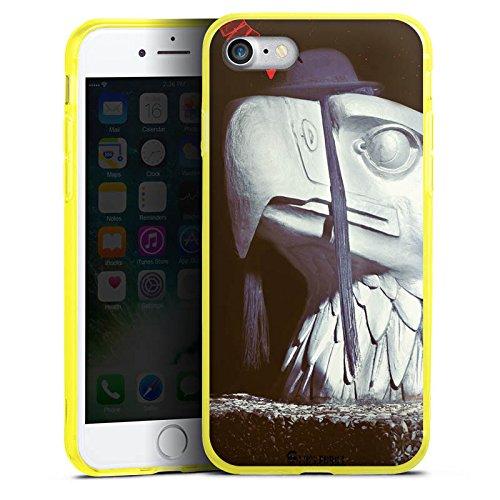 Apple iPhone 8 Silikon Hülle Case Schutzhülle Roboter Statue Adler Silikon Colour Case gelb