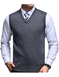 FULIER Mens Winter V-Neck Sleeveless Vest Classic Business Gentleman Knitwear Knitted Waistcoat Sweater Cardigans Tank Tops
