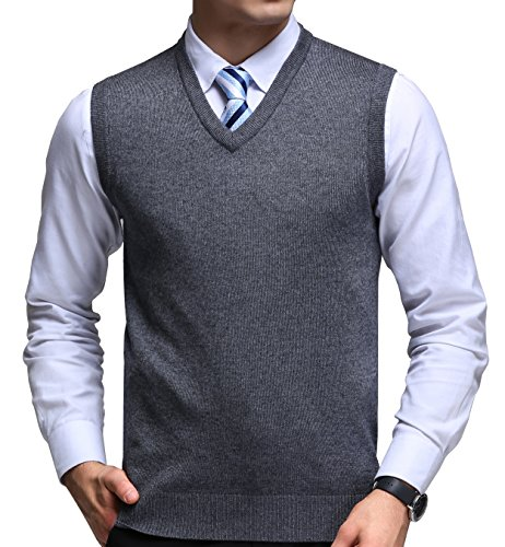 Golf V-neck Tank Top (FULIER Herren Winter V-ausschnitt Sleeveless Weste Klassische Business Gentleman Strickwaren Strick Weste Pullover Cardigans Tank Tops (L, Dunkelgrau))