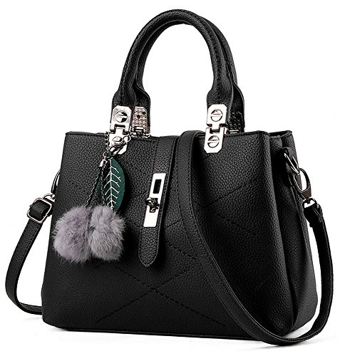 EssVita Stylish Women Pu Leather Bags Top Handle Handbags Office Lady Shoulder Bags for Women (Black)