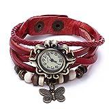 Reloj de Pusra Cuarzo Cuero Rojo Trenzado Mariposa Retro para Mujer Vintage