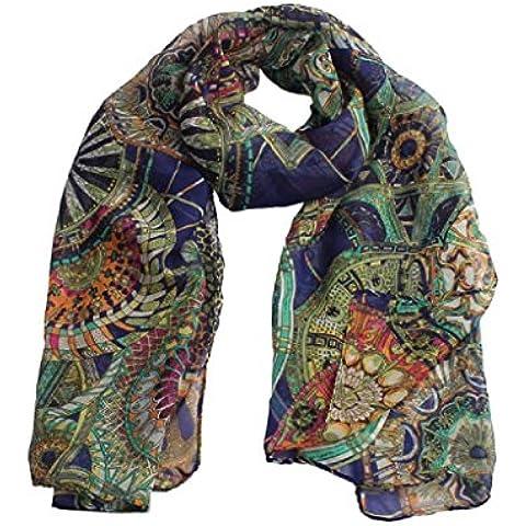 Bufanda GillBerry Mujer Chica Gasa Rueda impresa Moda Largo Suave bufanda de mantón