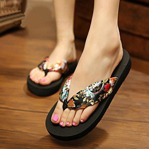 Flip Flops da Donna, Fascigirl Sandali Infradito Antiscivolo di Fondo Spesso Boemo Pantofole da Spiaggia Estiva Black 2XL