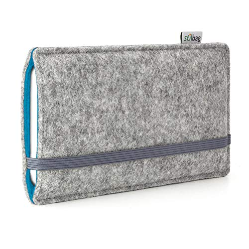 Stilbag Handyhülle Finn für Samsung Galaxy Note 8 | Farbe: hellgrau/Azur | Smartphone-Tasche aus Filz | Handy Schutzhülle | Handytasche Made in Germany