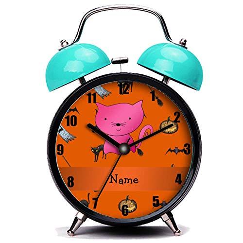 girlsight Blauer Wecker, Nette Katze Personalisierte Name Katze Halloween-Muster Twin Bell Wecker mit Nachtlicht (Namen Katze Halloween)