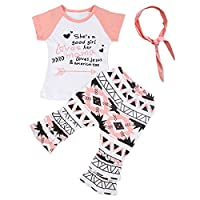 Puseky Baby Girls Kids Colorful T-shirt Tops+Boho Pants+Headband Clothes Outfits (4 Years, Pink+Black)