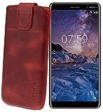 Suncase ECHT Ledertasche Leder Etui für Nokia 7 Plus Dual SIM Tasche (mit Rückzugsfunktion) antik-rot
