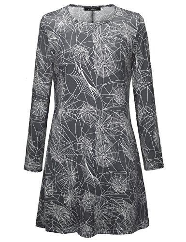 Spider Net Print Halloween Kleid Flared Swing Kleid (Spider Lady Kostüm Halloween)