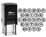 Lettres de l'alphabet de A à Z Initiale personnalisée brillant 20mm Monogramme rond auto-encreur Tampon en caoutchouc en noir d'encre. Initial-:Q noir