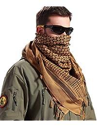 FREE SOLDIER Bufanda Militar 100% algodón Shemagh Tactical Desert Keffiyeh Bufanda de Cuello con Cabeza Bufanda árabe con Borla 43x43 Pulgadas,Marrón