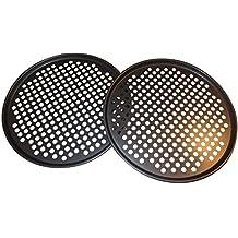 Pack de 2bandejas de 33 cm para pizza con agujeros –juego profesional para pizzas caseras de parrilla