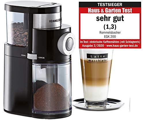 ROMMELSBACHER Kaffeemühle EKM 200 - aromaschonendes Scheibenmahlwerk, Mahlgrad einstellbar von grob bis extra fein, 2-12 Portionen, Füllmenge Bohnenbehälter 250 g, 110 Watt, schwarz