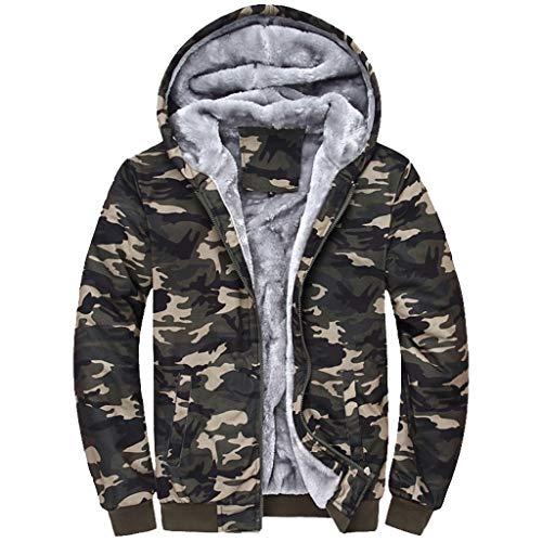 Mens Hoodie Winter Camouflage Warmer Fleece-Reißverschluss Outwear Mantel Top Hosen Sets (XXXXL, Armeegrün)