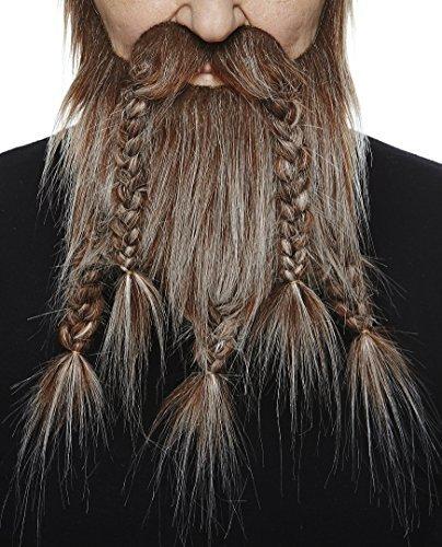 Mustaches Selbstklebende Neuheit Viking Dwarf Fälscher Bart Falsch Gesichtsbehaarung Kostümzubehör für Erwachsene Braun mit Grauer Farbe