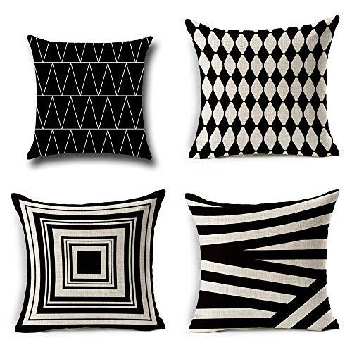 4-Pack Werfen Pillowcase Abdeckungen, Leinen Werfen Kissen Mit Verzerrter Geometrie Für Bett Couch, Auto Kissen 18 X 18 Zoll
