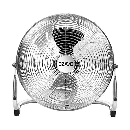 OZAVO Ventilateur de Sol ont 3 Niveaux de Vitesse, Puissance de 80 W, Tête du ventilateur inclinable à 100°, Diamètre du Ventilateur est 50cm