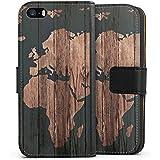 Apple iPhone 5 Tasche Hülle Flip Case Weltkarte Holz Erde