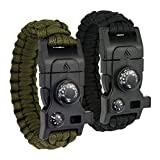 Leeva 8-in-1 Paracord Survival Armband mit Angelset, Multitool, Feuerstahl, Kompass, Minimesser, Signalpfeife, Thermometer (Schwarz)