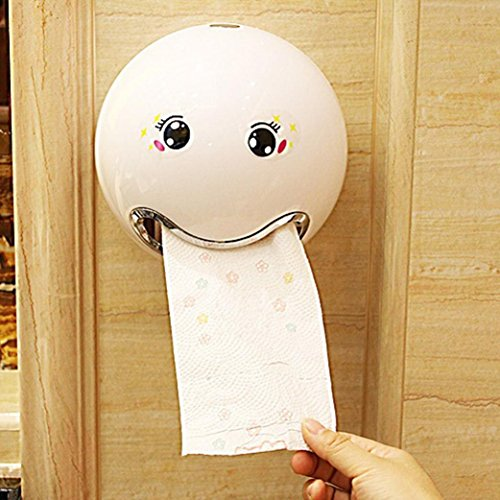Toilettenpapierhalter Box Ball Shaped Nette Emoji Bad Wc Wasserdichte Toilettenpapier Box Rollen Papierhalter für Bad (Weiß)