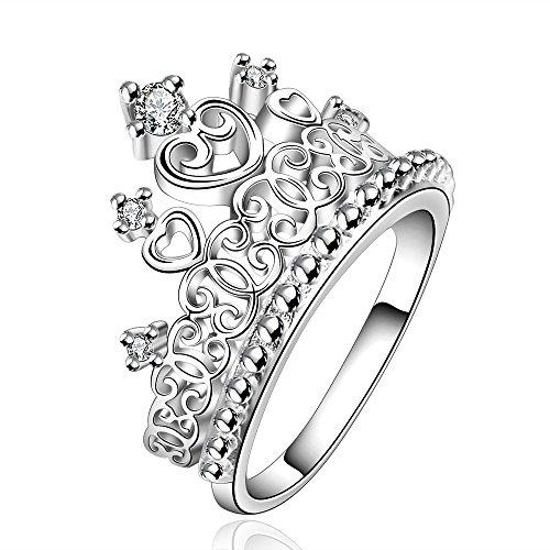 HMILYDYK Elegant Lady di cristallo austriaco con corona-Anello in argento Sterling 925, con pacchetto regalo per Natale, Placcato argento, 14,5, cod.