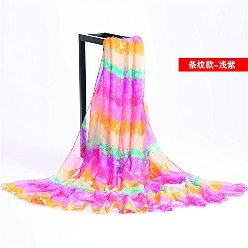 Yrxdd sciarpe lunghe sezione signore teli da spiaggia estate bohemian stampa sciarpa sciarpa sciarpa scialle,a righe viola chiaro 145 * 195cm