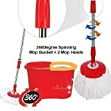 Denny International 360 Degree Spinning Mop Bucket Home Cleaner With Two Mop Heads
