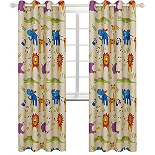 BGment Kids Blackout Curtains for Bedroom Eyelet Thermal Insulated Room Darkening Variety Animal Patterns Printed Curtains for Nursery,Set of 2 Panels (W46 x L72 Inch,Beige Zoo)