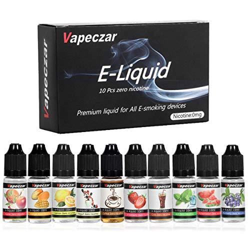 E-liquids ohne Nikotin, 10 Aromen E-Zigaretten Liquid Set 70VG/30PG Refill Electronic Cigarette, für E Zigaretten/Elektrische Zigarette/E Shisha (VAPECZAR). ()