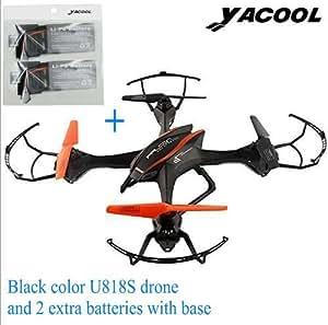 Yacool ® U818S Quad hélicoptère Drone avec FPV Caméra et WIFI-818 Télécommande (Drone de couleur noire, avec 2 1000 mAh supplémentaires)