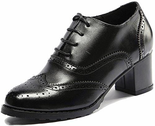 SimpleC Zapatos Oxford Vendimia Perforado Wingtip Cuero Bomba con Cordones para Mujer Neg37