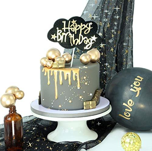 (Black Cloud Happy Birthday Tortenaufsatz Geburtstag Twinkle DIY Glitzer 1. Geburtstag Cupcake Topper Cake Smash Candle Alternative Party Handarbeit)