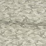 Jersey Stoff Tarnmuster weiß grau Camouflage Modestoffe Kinderstoffe - Preis Gilt für 0,5 Meter