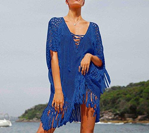 Walant Damen Sommer Gestrickt Strand Bademode Bikini Cover Up Crochet Kurze Kleider Tops Bluse Sweatshirt mit Quasten Blau