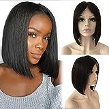 """Perruque Bresilienne Raie au Milieu - Perruque Femme 100% Cheveux Humains Naturels Remy Raide - Lace Front Frontal Wig Naturel Human Hair (Densité: 130%, Longueur: 8""""/20cm)"""