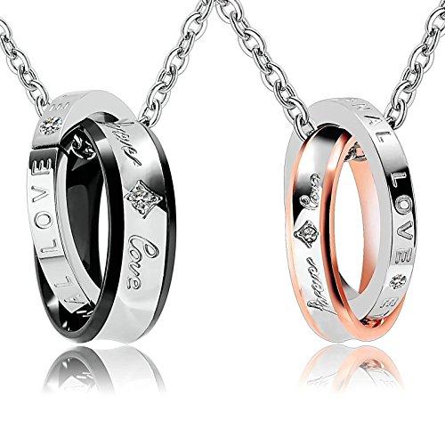"""Bishilin 2 PCS Edelstahl Paar Halskette Silber Zirkonia Ringe mit Gravur \""""foever love\"""" Anhänger Kette Rosegold Schwarz für Sie und Ihn"""