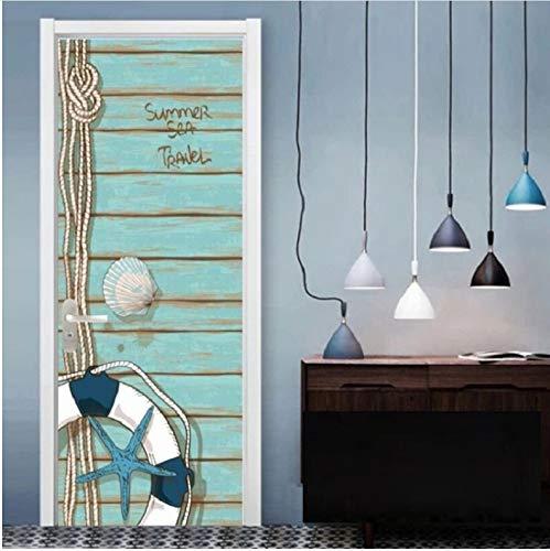 Zwei Glas-schiebe-tür (luanxiaonie Tür Aufkleber Schiebe Vinyl Holz Ölgemälde Wohnkultur PVC Tapete Selbstklebende Abnehmbare Tür Wandtattoo 77x200 cm)