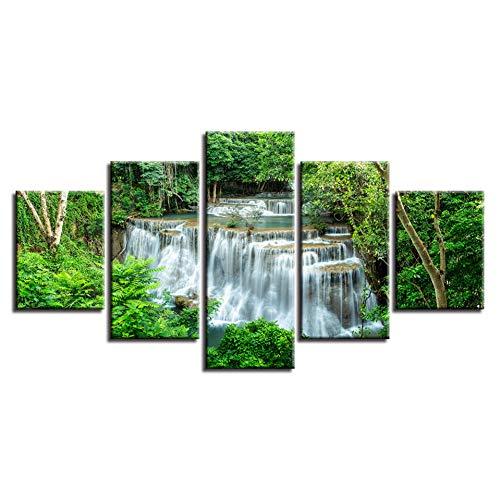 YJHCZC Druck Hd Landschaft Bilder Dekor Wandkunst 5 Stücke Grünen Baum Wald Und Schöne Wasserfall Leinwand Malerei Modulare Rahmen -
