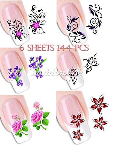 6 sheets 144 pcs Autocollants de transfert à eau pour la décoration des ongles Nail Sticker set #068 Nail Sticker Tattoo - FashionLife