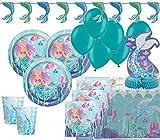 XL 45 Teile Glitzer Meerjungfrau Party Deko Set für 8 Personen